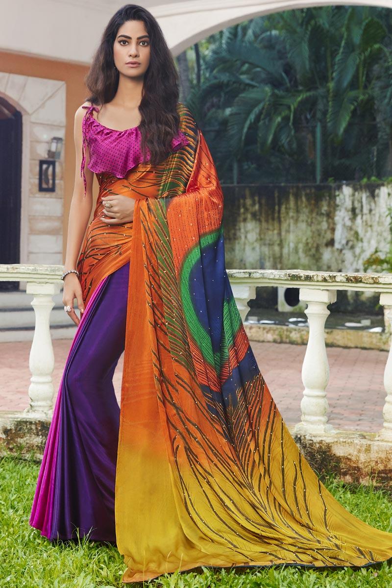 Regular Wear Satin Fabric Printed Saree In Multi Color