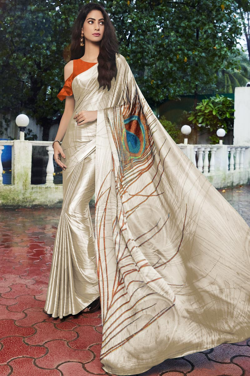 Beige Color Satin Fabric Regular Wear Fancy Printed Saree