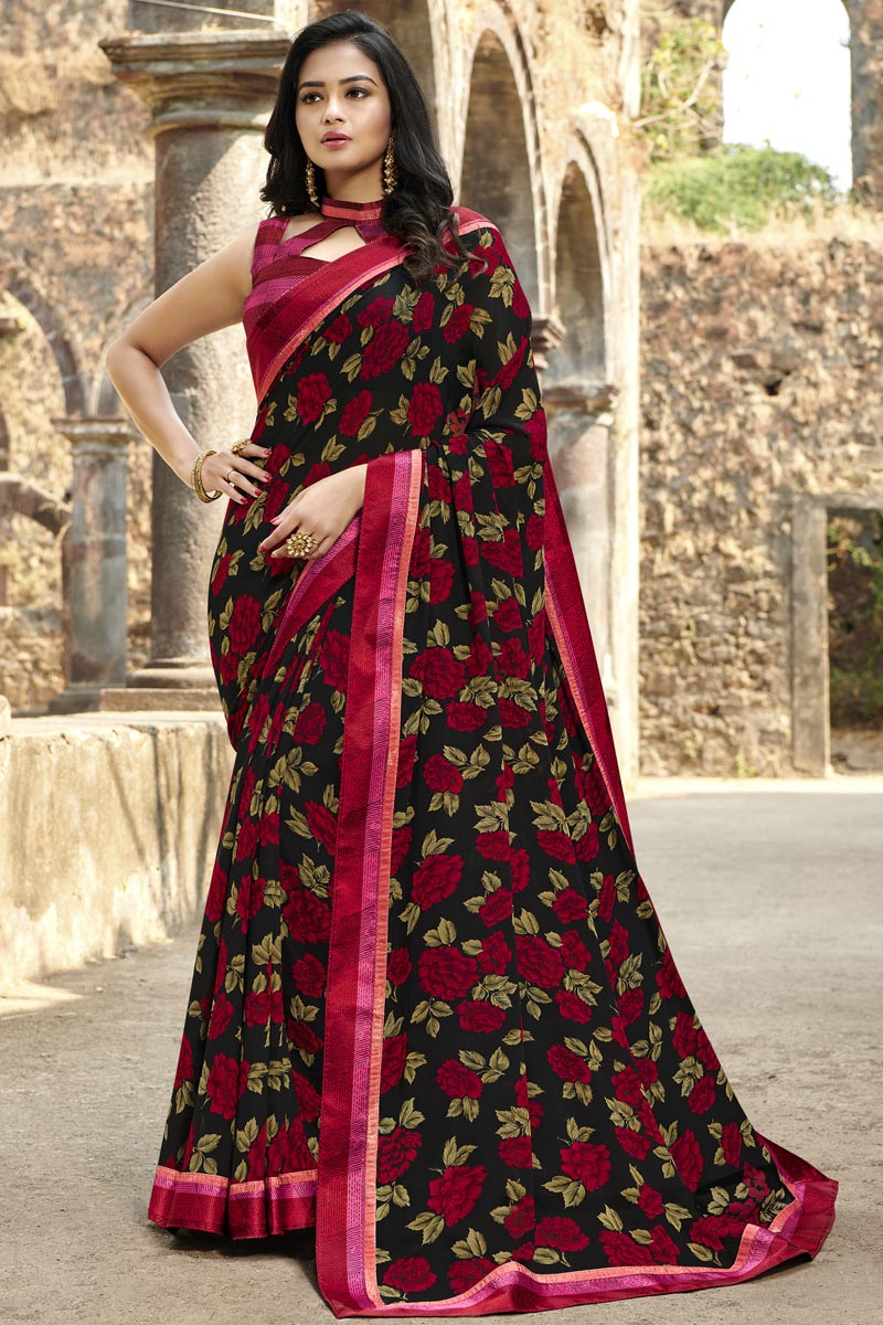 Georgette Fabric Casual Wear Fancy Black Color Printed Saree