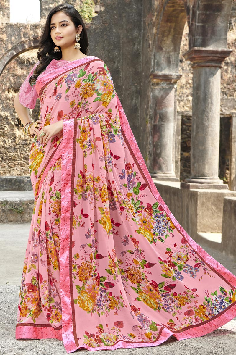 Office Wear Georgette Fabric Simple Printed Saree In Peach Color