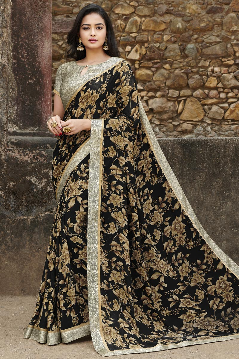 Black Color Office Wear Fancy Georgette Fabric Printed Saree