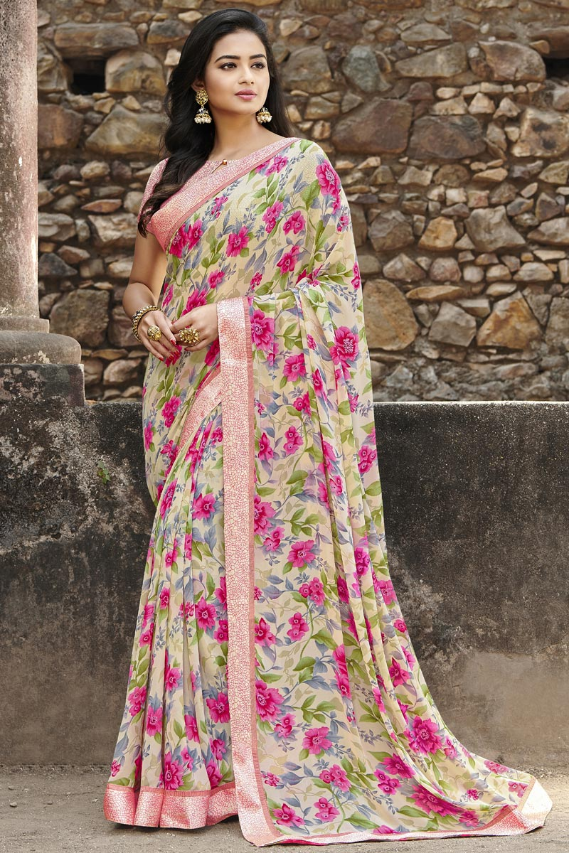 Georgette Fabric Fancy Regular Wear Beige Color Printed Saree