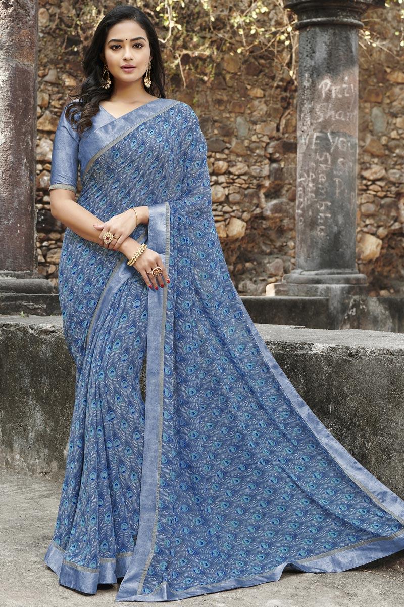 Blue Color Regular Wear Georgette Fabric Simple Printed Saree