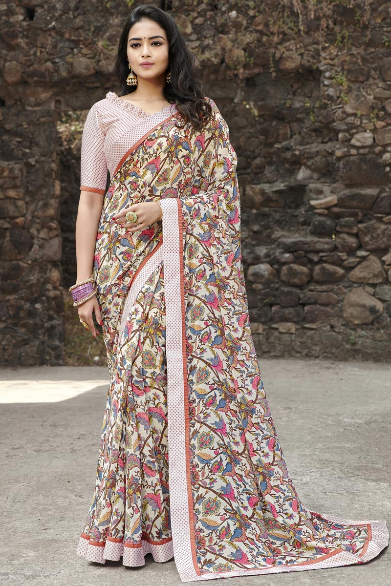 Casual Wear Georgette Fabric Simple Printed Saree In Beige Color