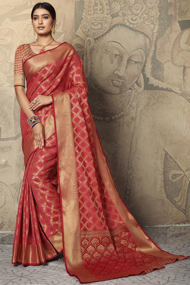 Art Silk Fabric Puja Wear Pink Color Weaving Work Saree