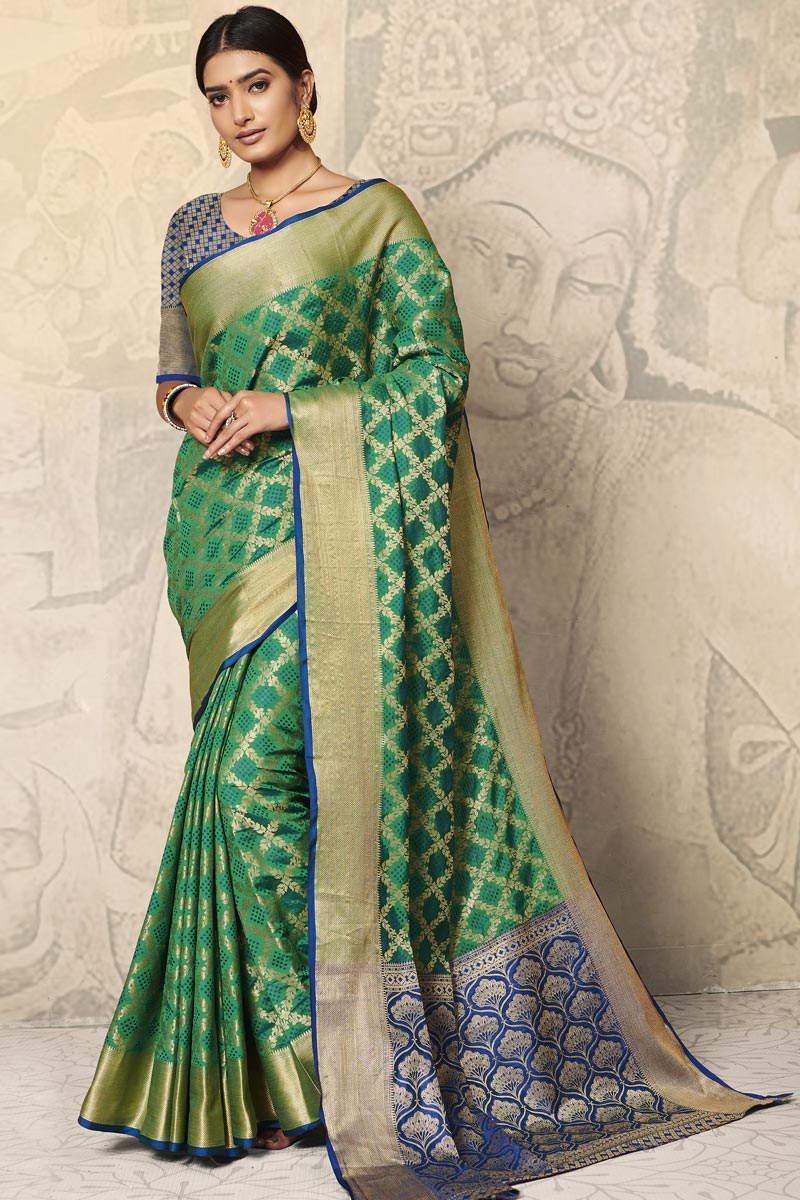 Green Color Puja Wear Art Silk Fabric Weaving Work Saree