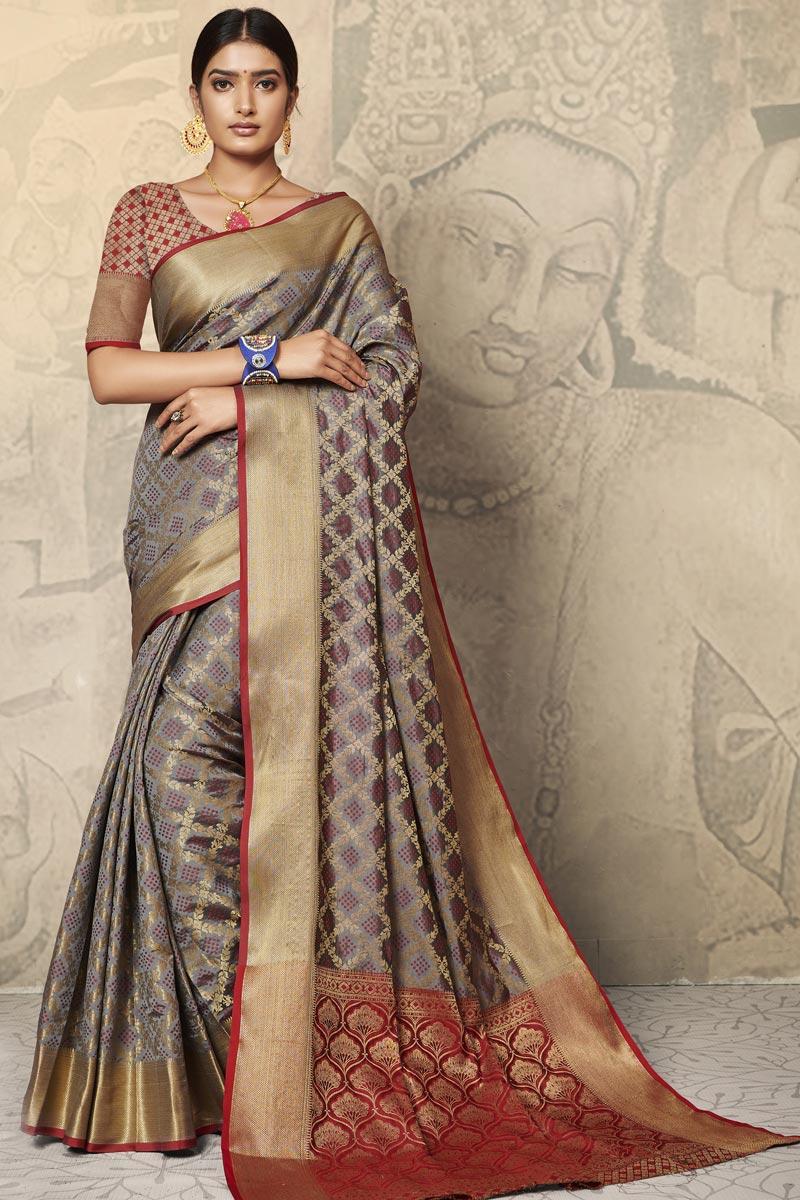 Festive Wear Art Silk Fabric Weaving Work Saree In Grey Color