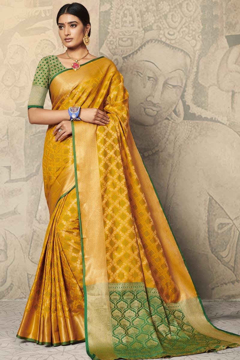 Mustard Color Festive Wear Art Silk Fabric Weaving Work Saree