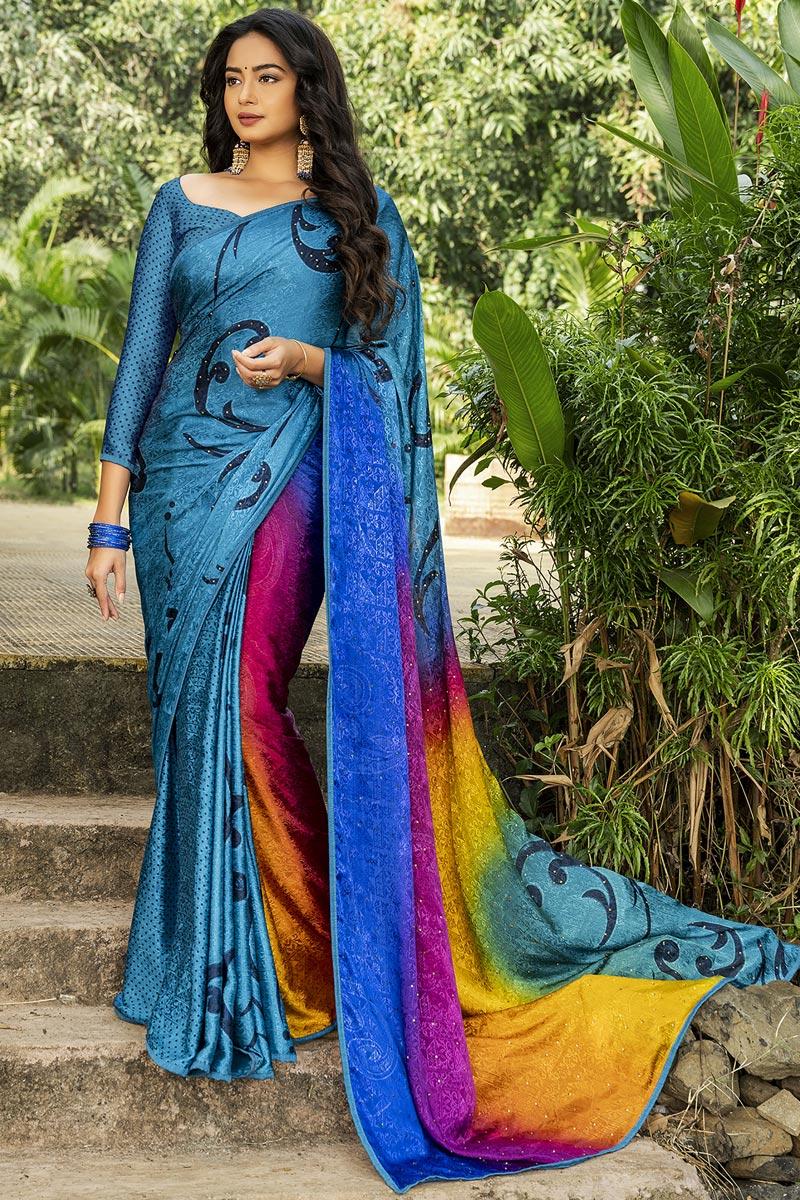 Crepe Silk Fabric Regular Wear Multi Color Printed Saree