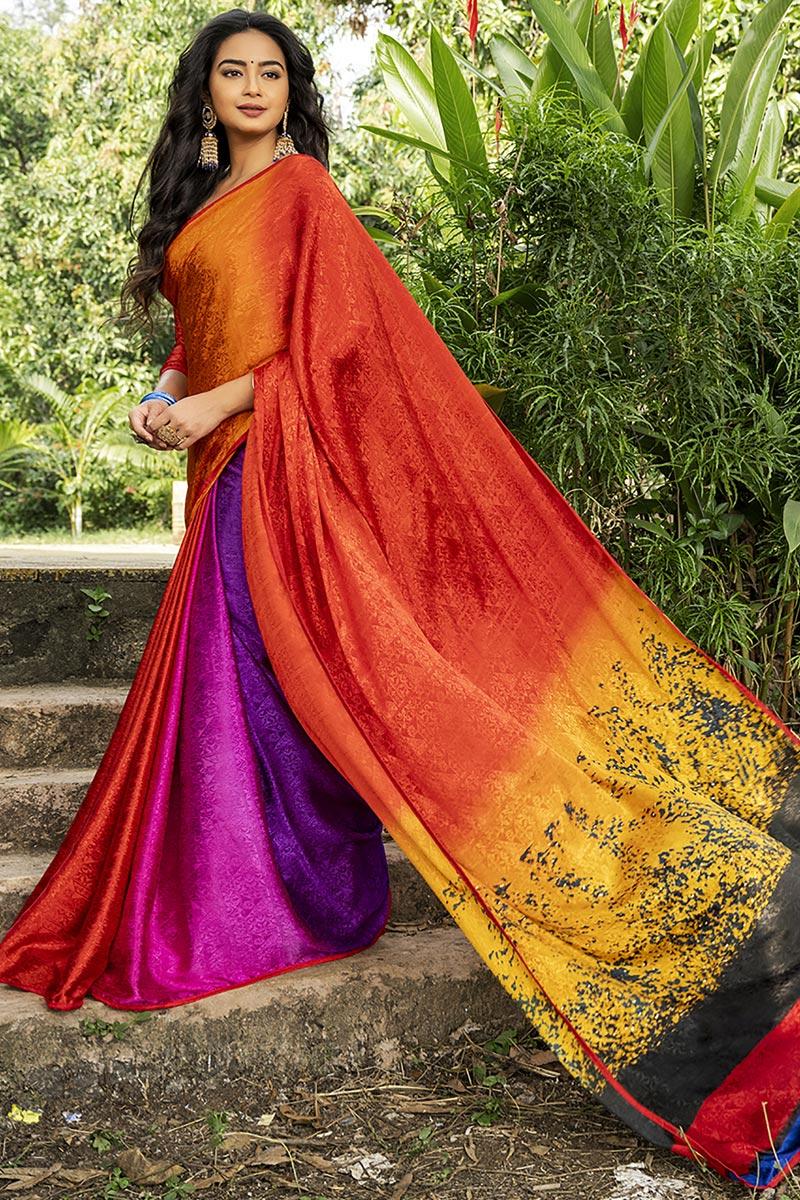 Multi Color Crepe Silk Fabric Regular Wear Printed Saree