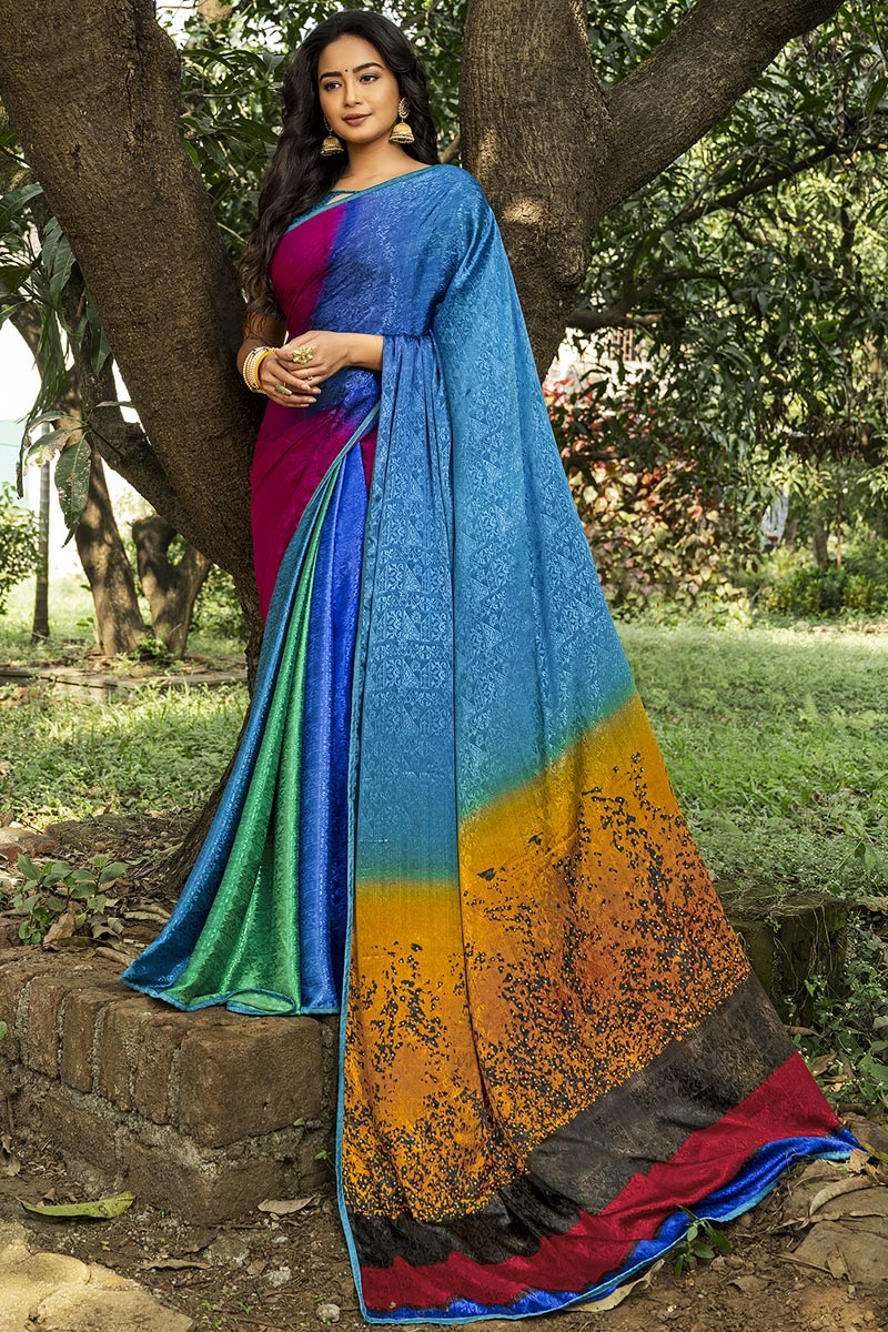 Multi Color Puja Wear Printed Saree In Crepe Silk Fabric