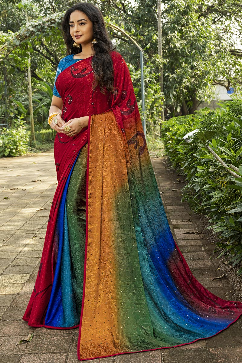 Multi Color Crepe Silk Fabric Fancy Printed Daily Wear Saree