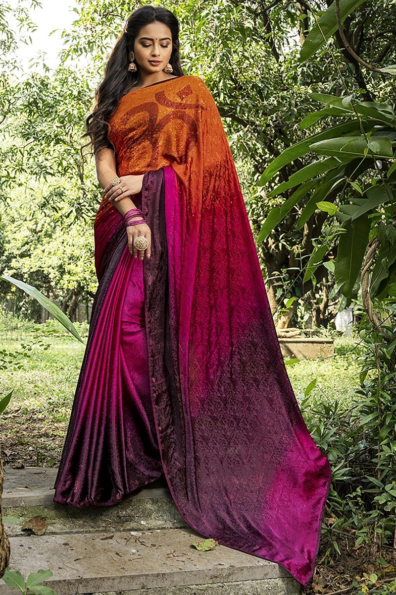 Multi Color Casual Printed Saree In Crepe Silk Fabric