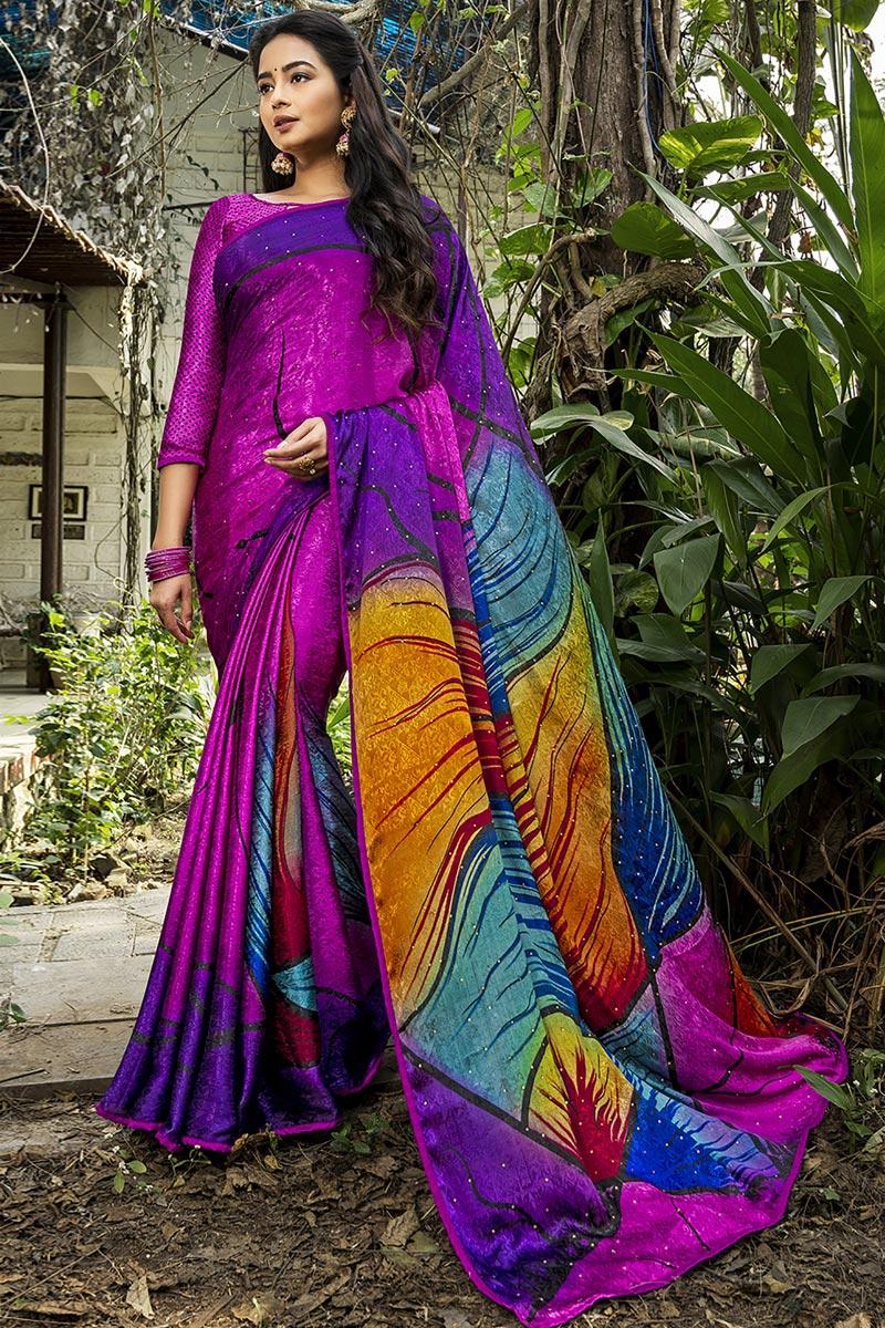 Multi Color Puja Wear Printed Saree In Crepe Silk Fabric