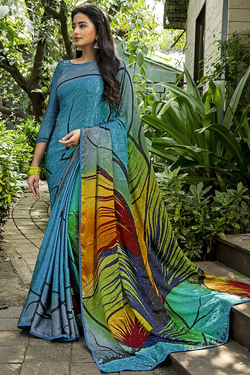 Printed Crepe Silk Fabric Fancy Saree In Multi Color