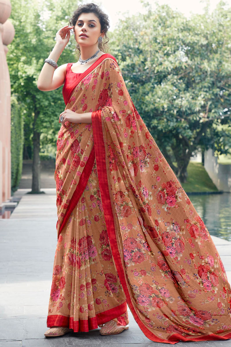 Rust Color Puja Wear Printed Saree In Georgette Fabric