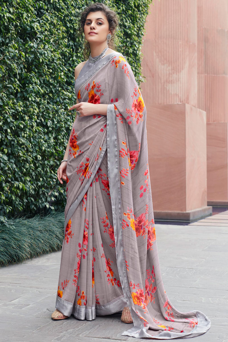 Georgette Fabric Grey Color Daily Wear Printed Saree