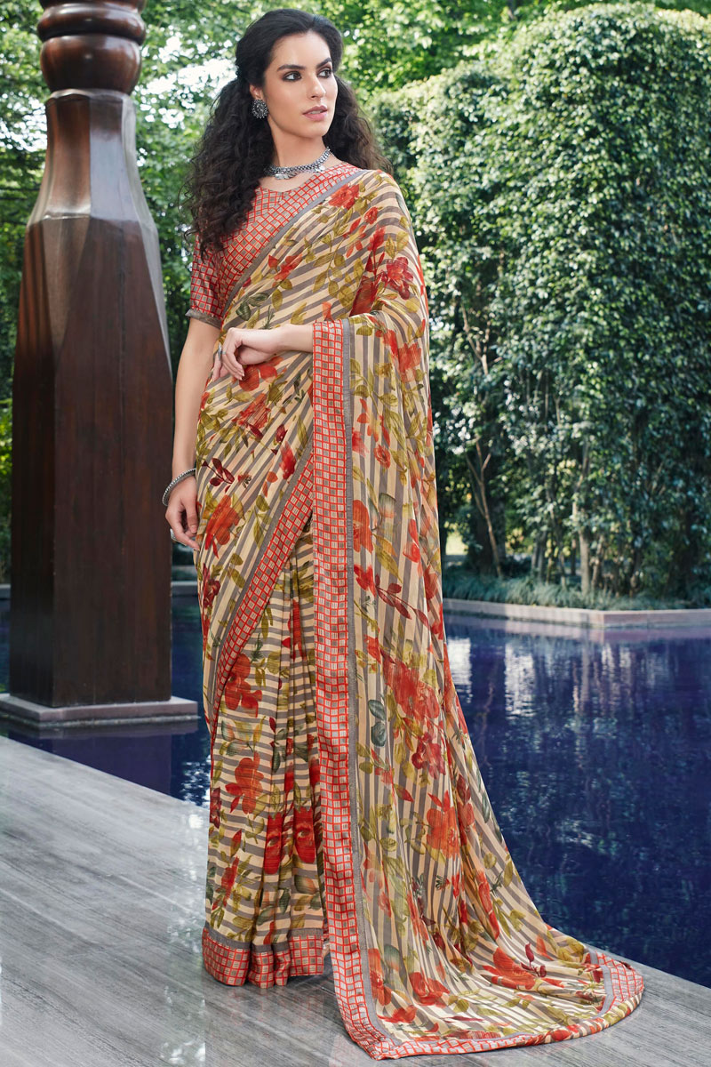 Fancy Georgette Fabric Multi Color Daily Wear Printed Saree