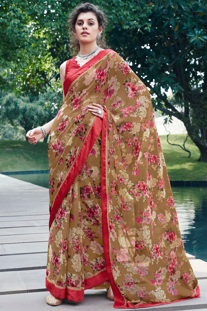 Casual Wear Fancy Printed Saree In Georgette Fabric Light Brown Color