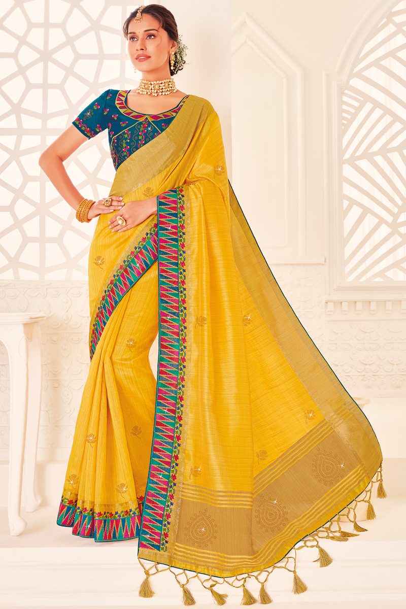 Art Silk Fabric Puja Wear Yellow Color Saree With Embroidered Blouse