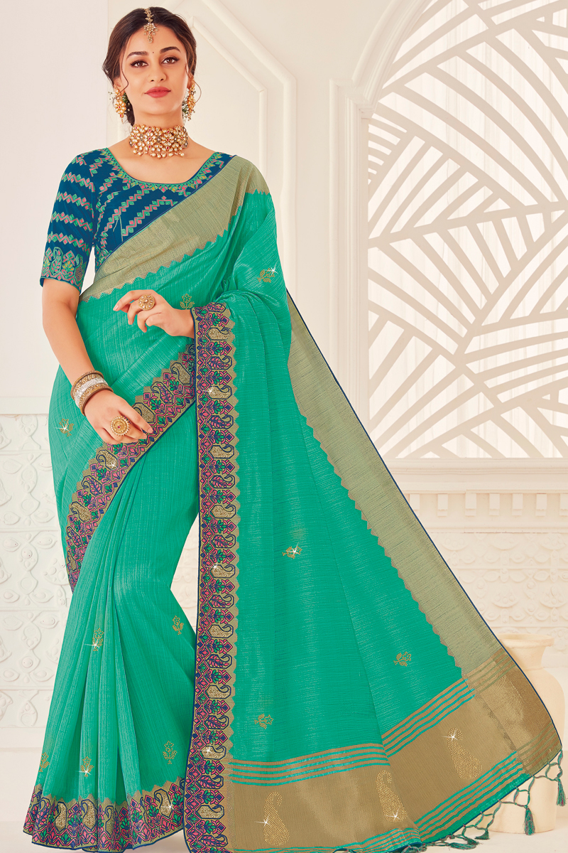 Cyan Color Function Wear Designer Art Silk Fabric Saree With Embroidered Blouse