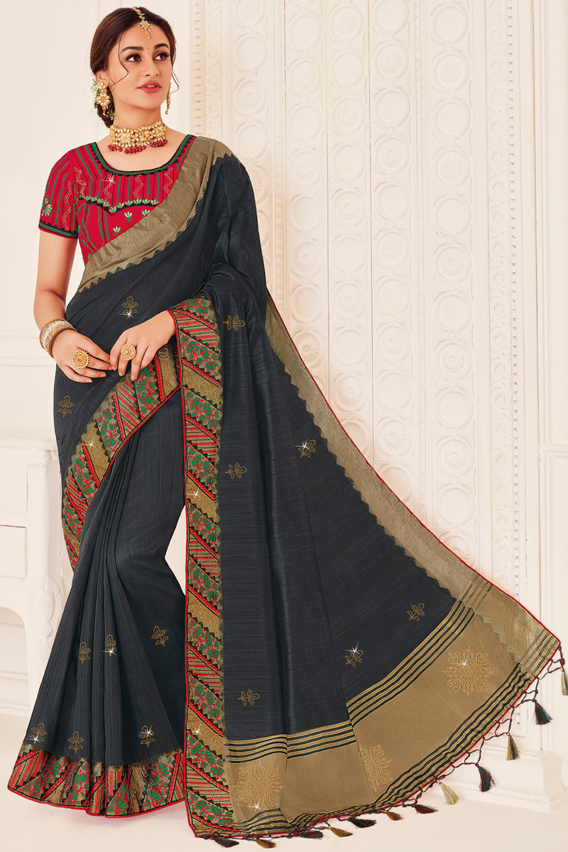 Art Silk Fabric Festive Wear Black Color Saree With Embroidered Blouse