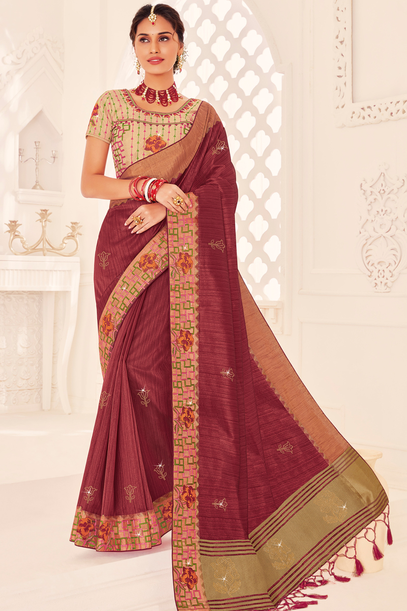 Party Wear Wine Color Art Silk Fabric Designer Saree With Embroidered Blouse