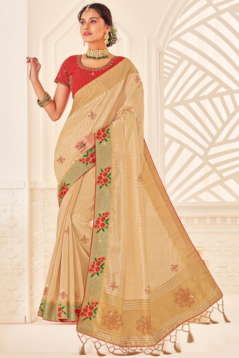 Sangeet Wear Art Silk Fabric Saree With Embroidered Blouse