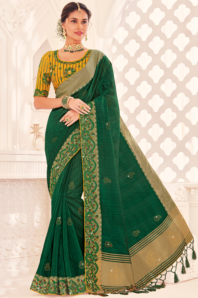 Green Color Wedding Wear Designer Art Silk Fabric Saree With Embroidered Blouse