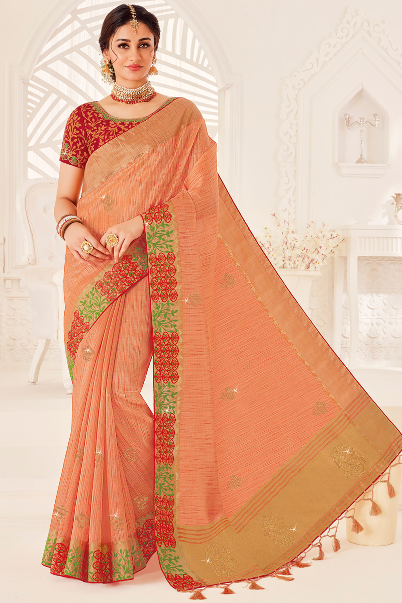 Art Silk Fabric Reception Wear Peach Color Saree With Embroidered Blouse