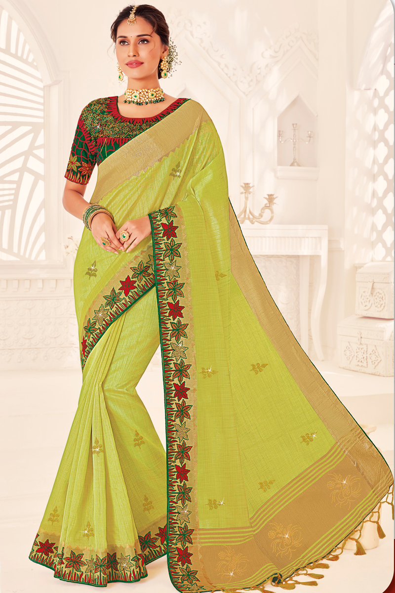Green Color Puja Wear Art Silk Fabric Designer Saree With Embroidered Blouse