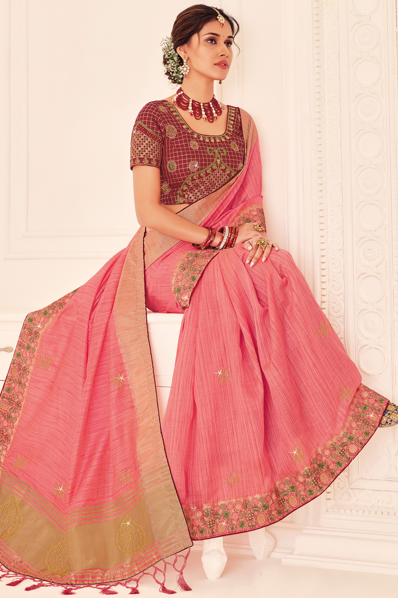 Art Silk Fabric Function Wear Pink Color Saree With Embroidered Blouse