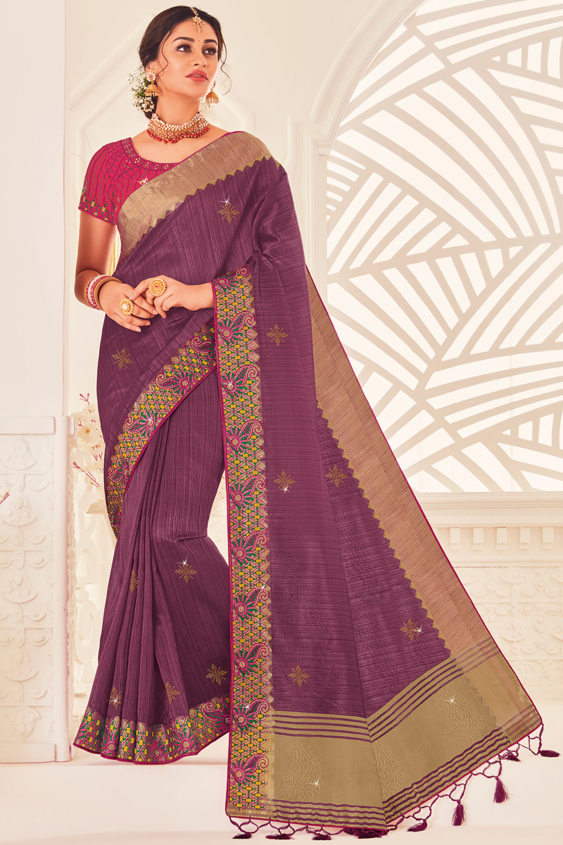 Party Wear Art Silk Fabric Saree With Embroidered Blouse