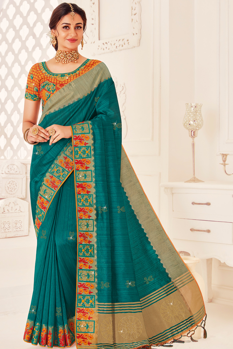 Teal Color Sangeet Wear Art Silk Fabric Designer Saree With Embroidered Blouse