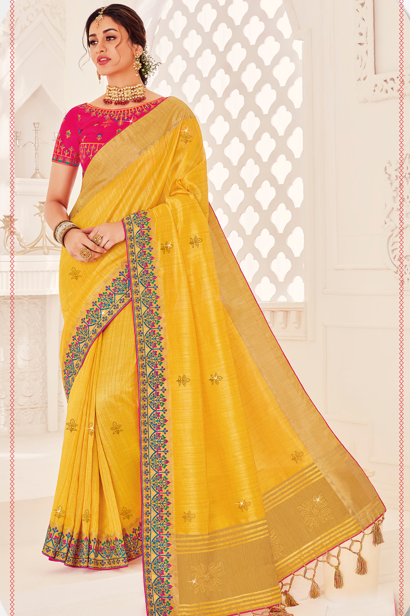 Yellow Color Art Silk Fabric Wedding Wear Saree With Embroidered Blouse