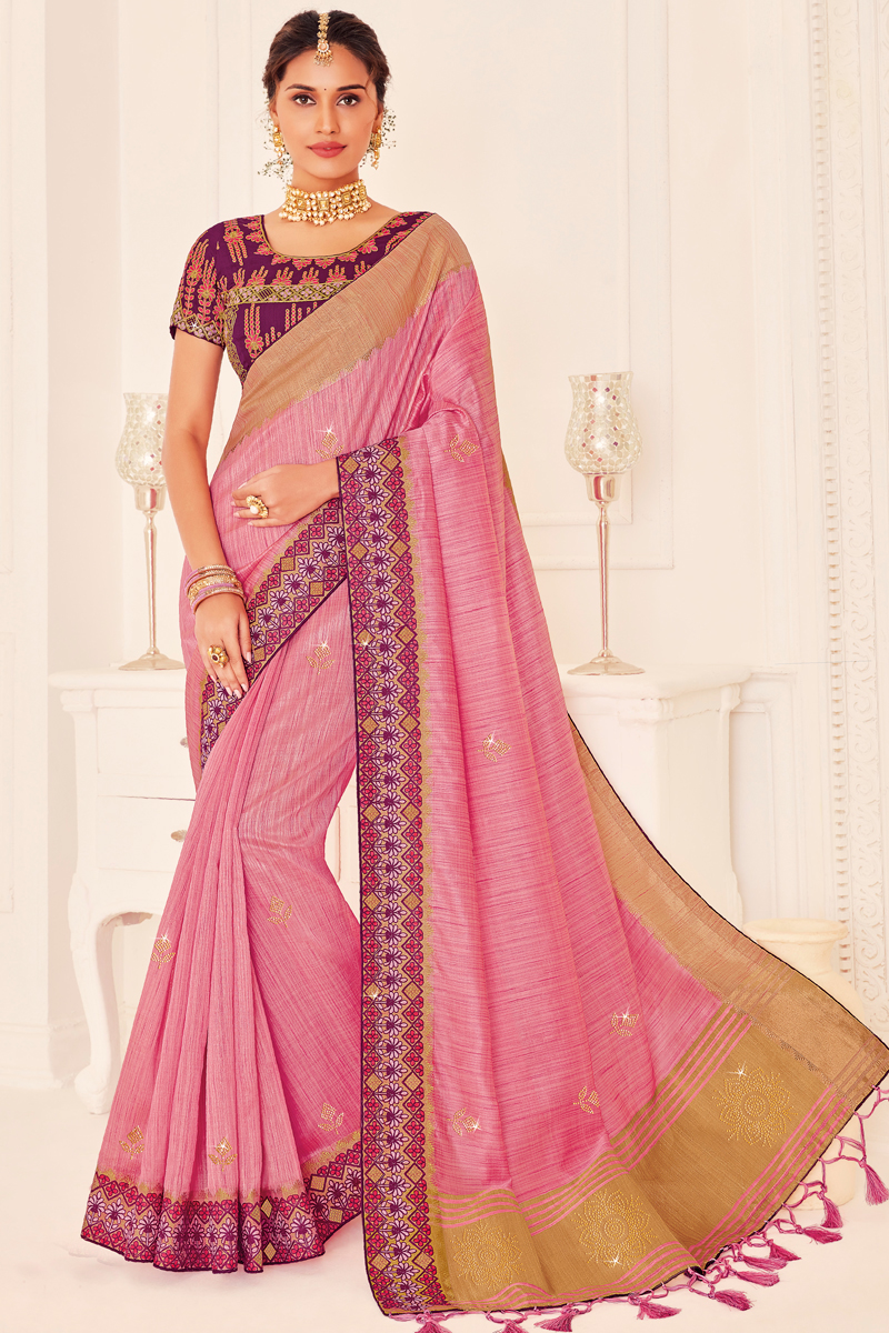 Art Silk Fabric Reception Wear Trendy Saree With Embroidered Blouse