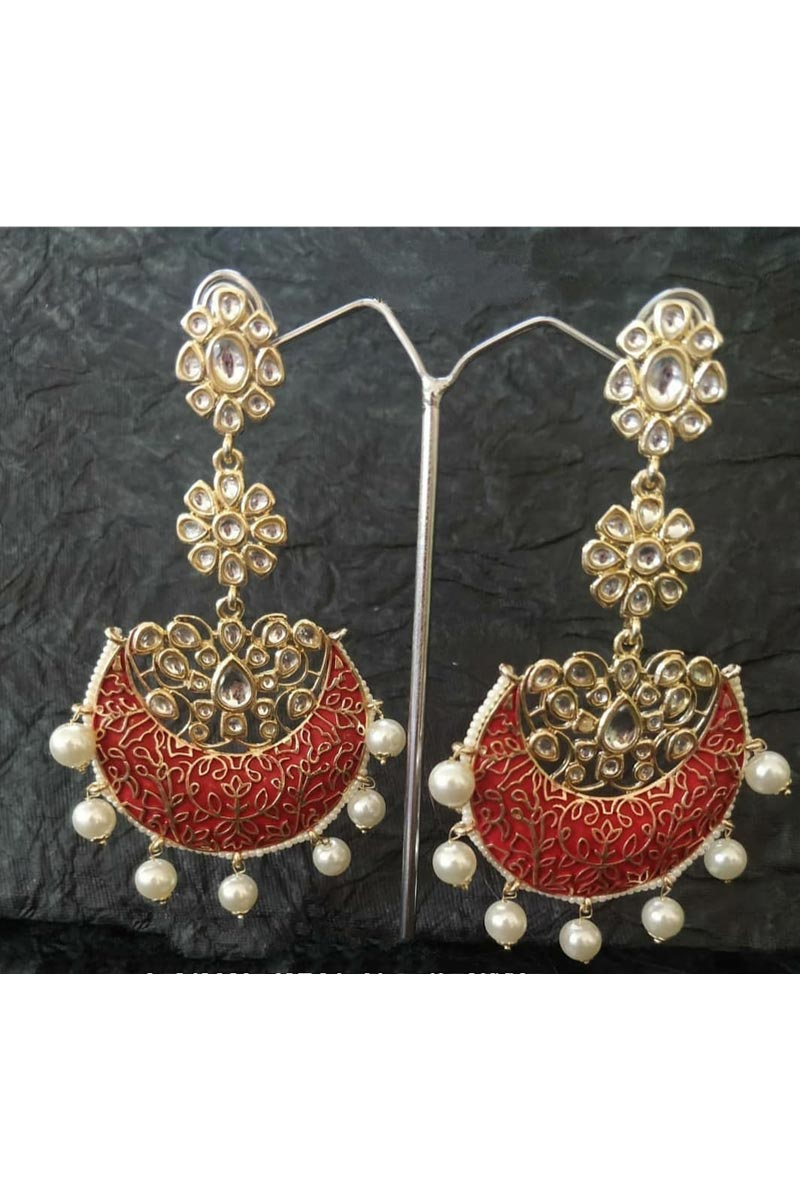 Alloy Metal Red Designer Kundan Pearl Meenakari Earrings