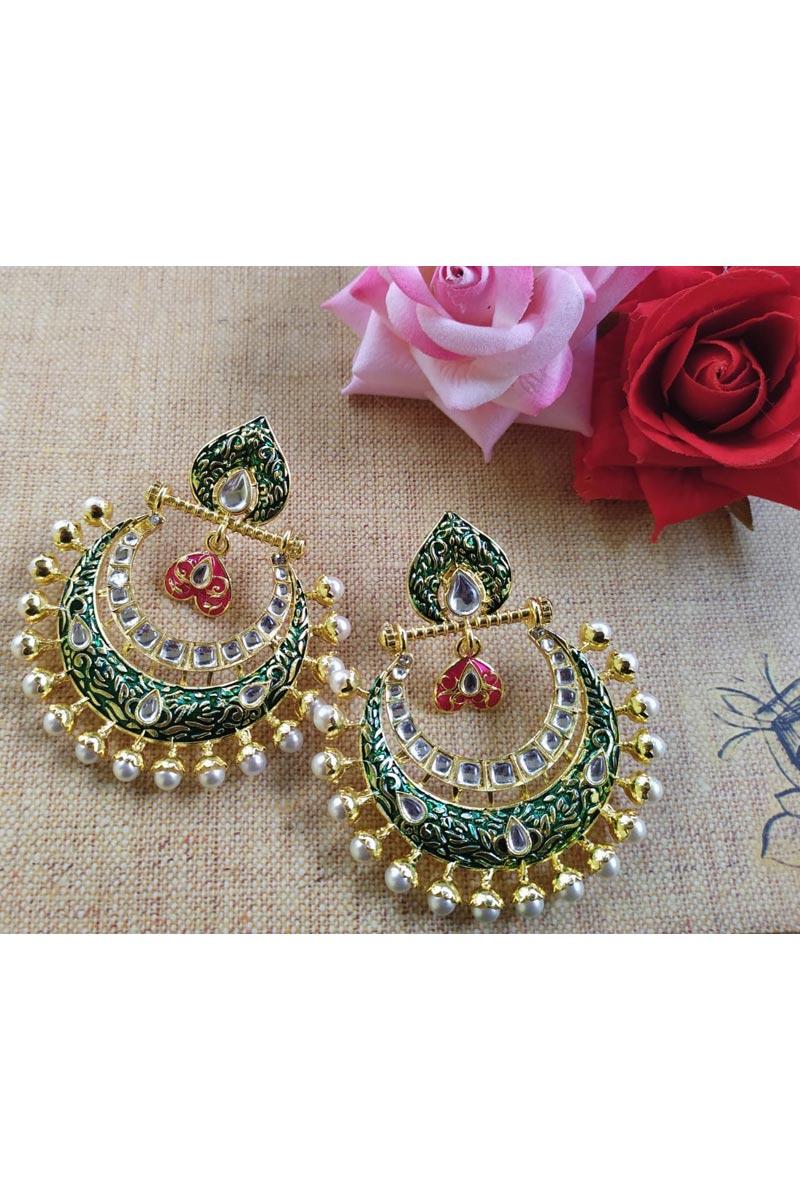 Eid Special Alloy Metal Fancy Pearl Meenakari Earrings In Teal Color