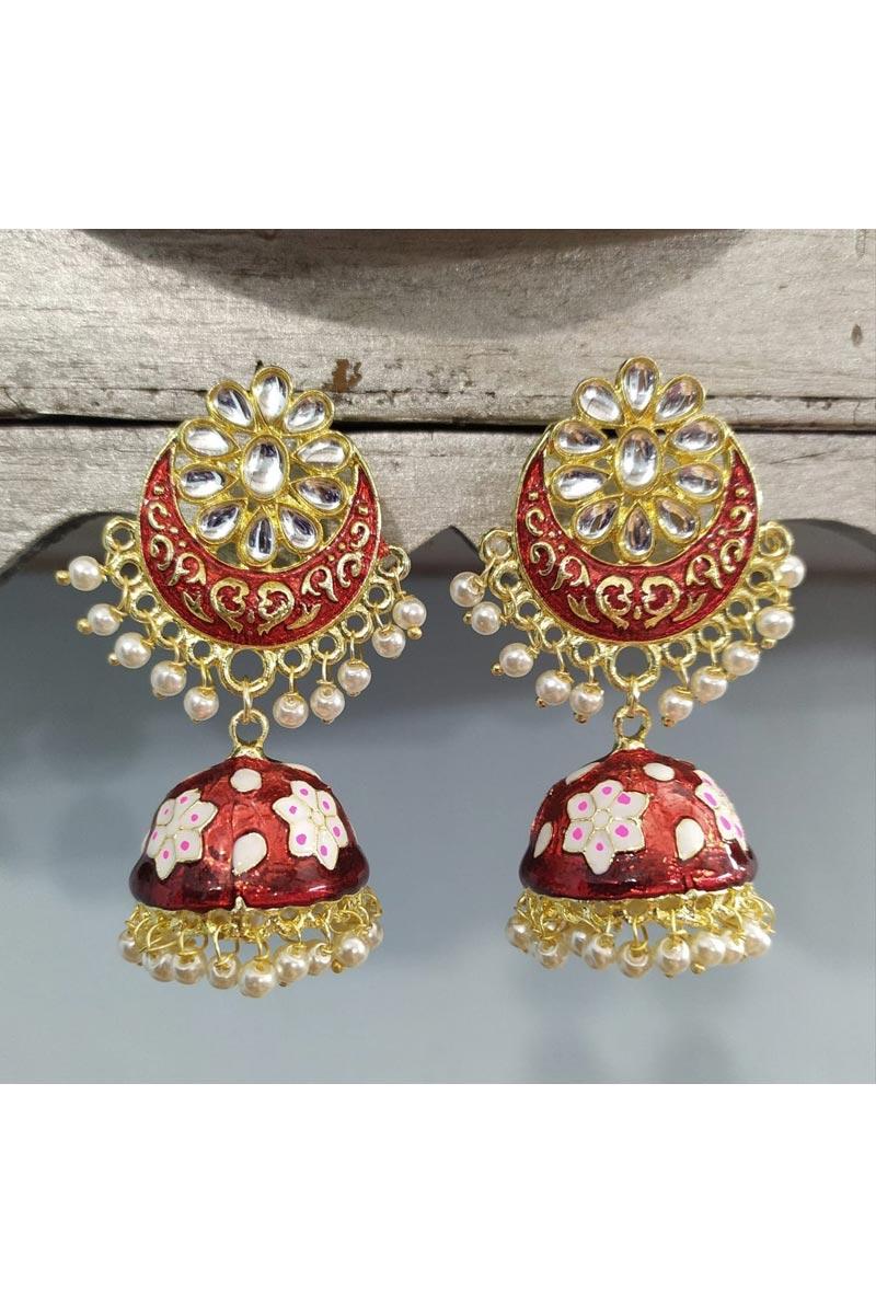 Eid Special Red Fancy Kundan Jumki Meenakari Earrings In Alloy Metal