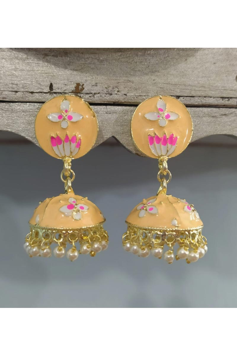 Peach Designer Jumki Pearl Meenakari Earrings In Alloy Metal