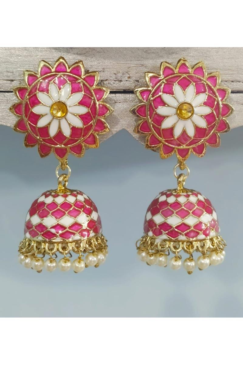 Rani Color Fancy Pearl Meenakari Jhumka Earrings In Alloy Metal