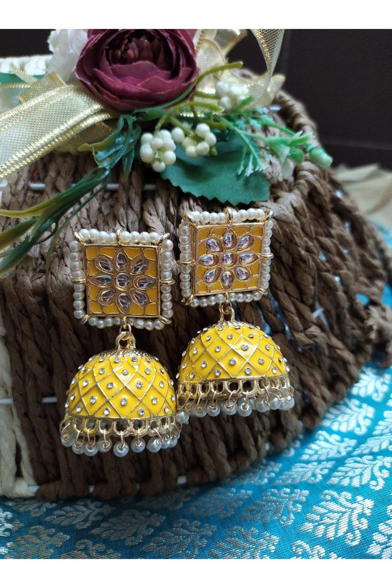 Eid Special Alloy Metal Function Wear Kundan Pearl Meenakari Jhumka Earrings In Yellow Color