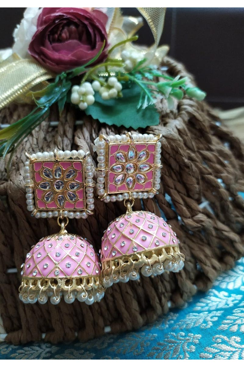 Eid Special Pink Color Function Wear Alloy Metal Kundan Pearl Meenakari Jhumka Earrings