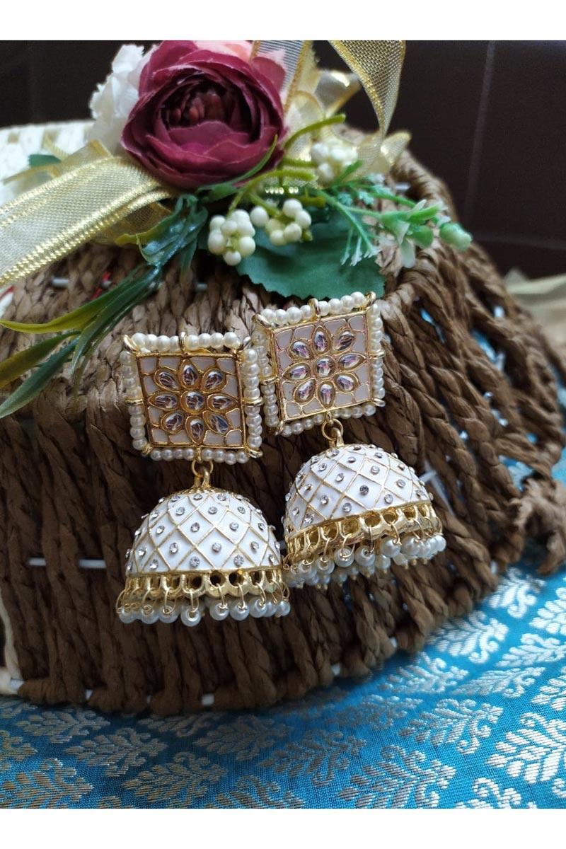 Function Wear Alloy Metal White Color Kundan Pearl Meenakari Jhumka Earrings
