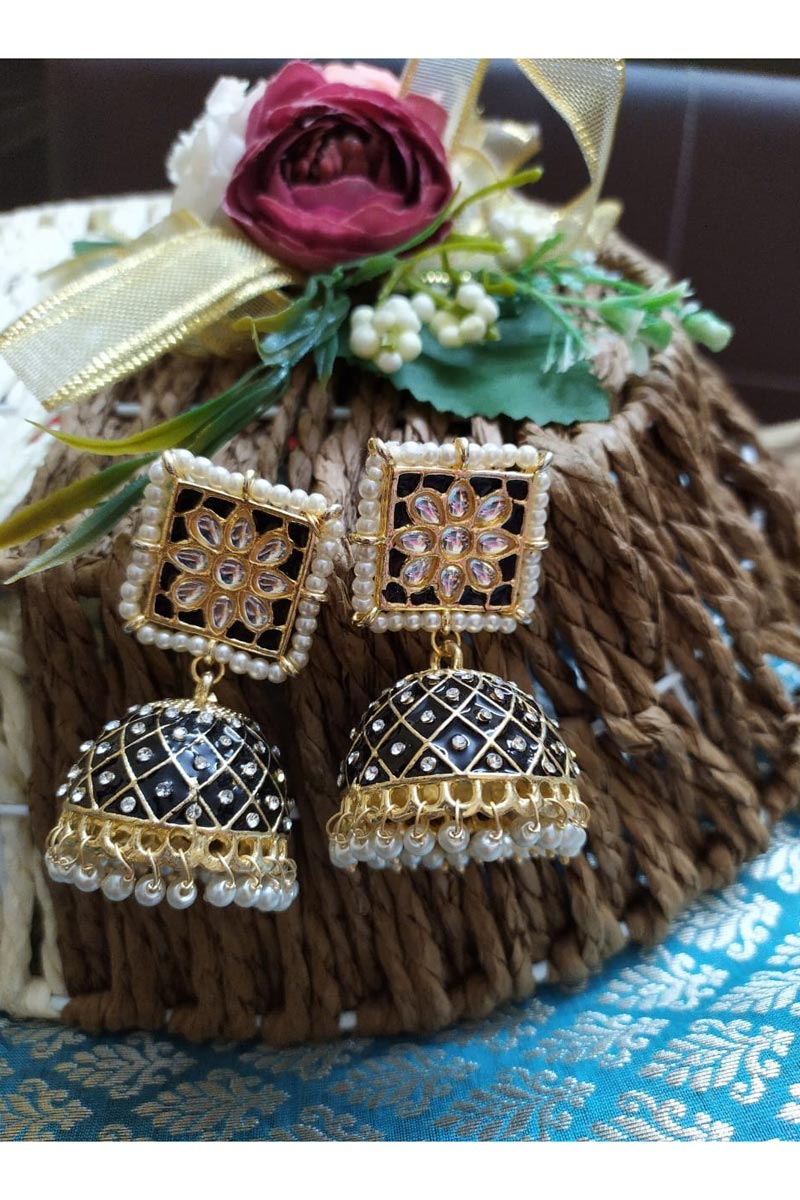 Function Wear Kundan Pearl Meenakari Jhumka Earrings In Black Color Alloy Metal