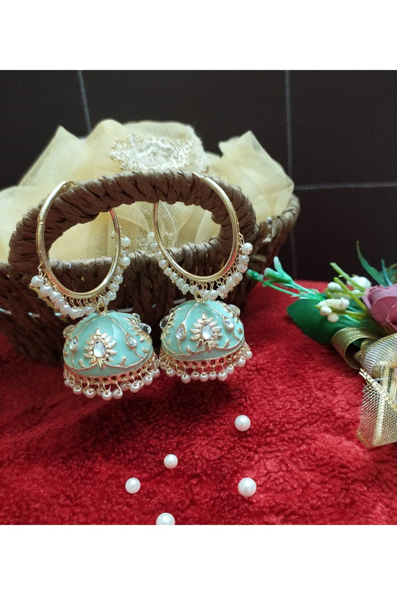 Sea Green Color Function Wear Alloy Metal Kundan Pearl Meenakari Jhumka Earrings