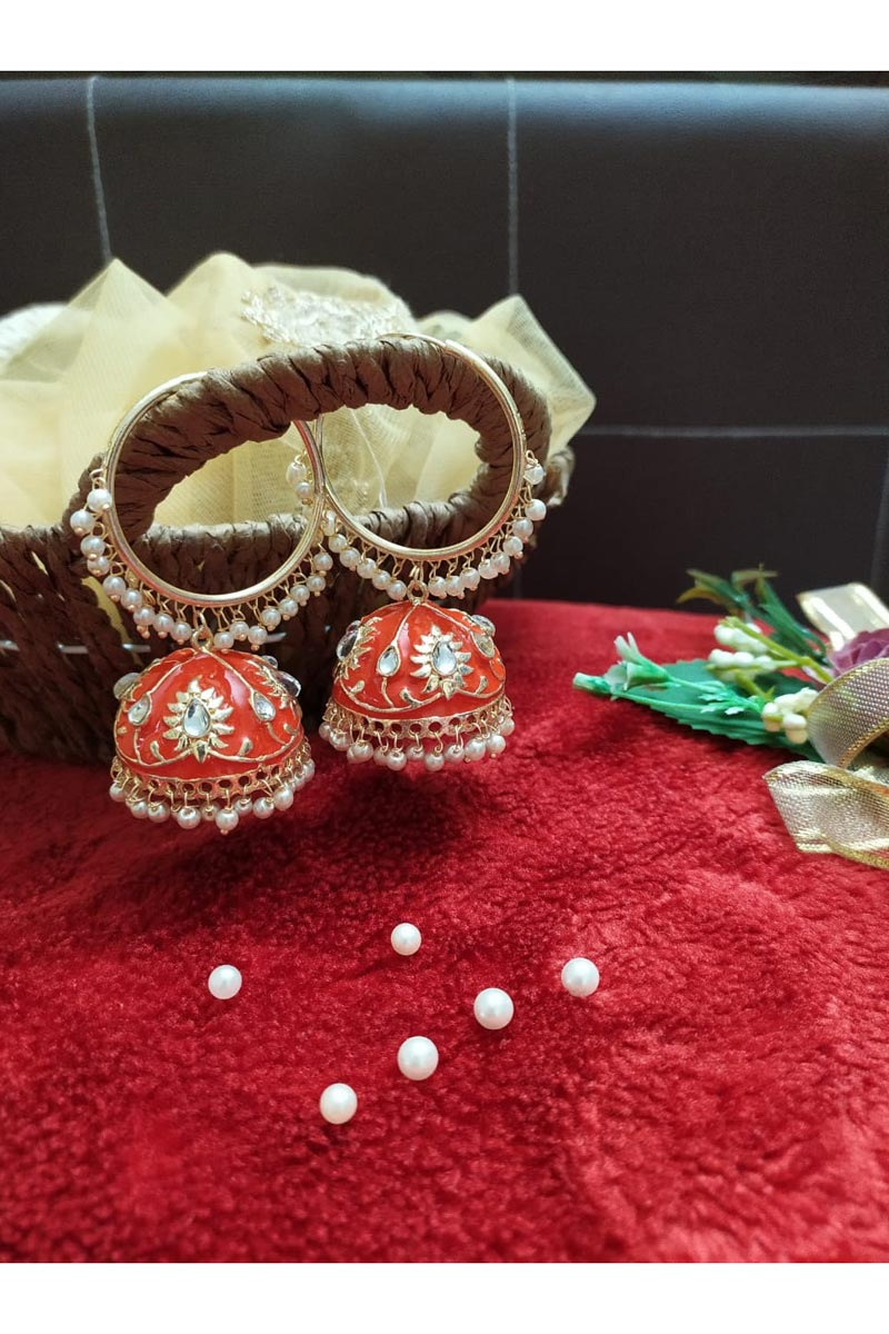 Function Wear Alloy Metal Orange Color Kundan Pearl Meenakari Jhumka Earrings