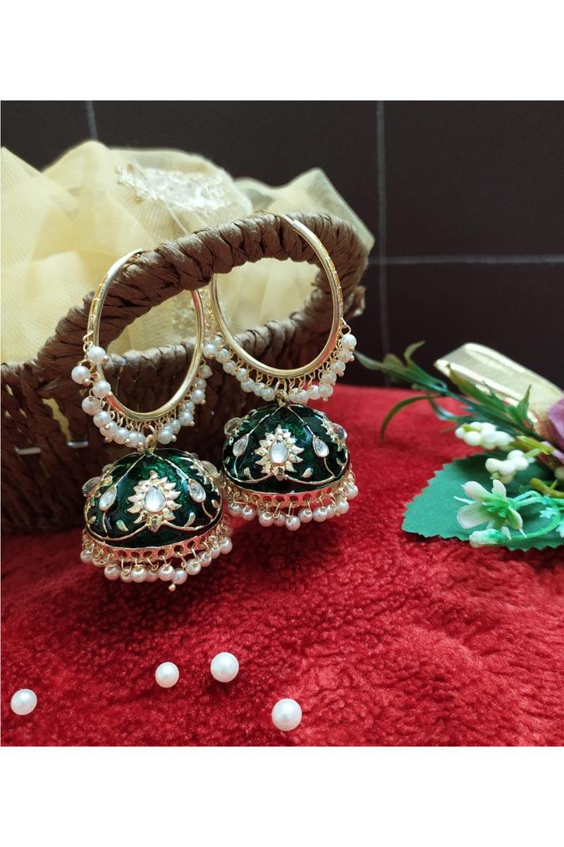 Eid Special Function Wear Kundan Pearl Meenakari Jhumka Earrings In Dark Green Color Alloy Metal
