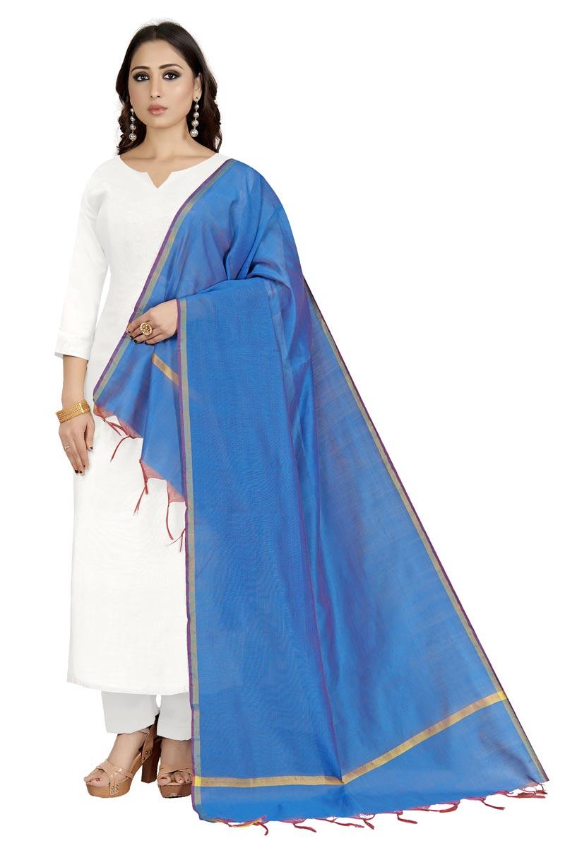 Casual Wear Chic Sky Blue Color Dupatta In Cotton Silk Fabric