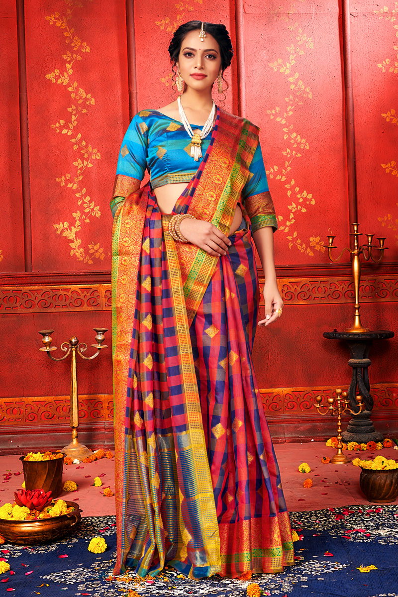 Weaving Work Designs Pink Color Art Silk Fabric Party Wear Saree
